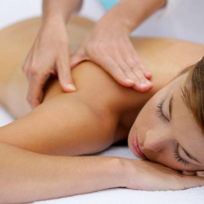 Girl having a back massage